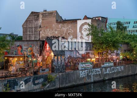 Yaam club at river Spree, Friedrichshain, Berlin, Germany - Stock Photo