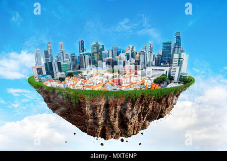 Fantasy floating island of Singapore cityscape levitating in the air on a cloudy sky. - Stock Photo