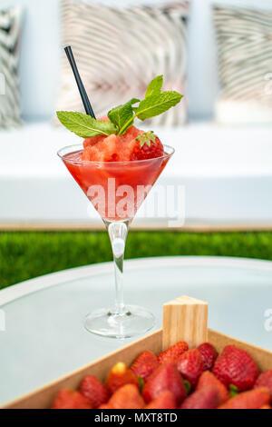 a frozen strawberry daquiri cocktail - Stock Photo