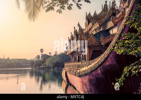 Karaweik on the Kandawgyi lake in Yangon, Myanmar - Stock Photo