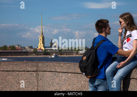 Summer view from the Palace Bridge to the Peter and Paul Fortress and the Neva River in the city center of St. Petersburg, Russia - Stock Photo