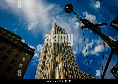 Empire State Building from street level taken in New York City, New York, USA on 21 October 2008 - Stock Photo