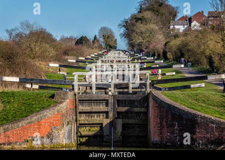 Caen flight of locks in Devizes, Wiltshire, UK taken on 16 March 2014 - Stock Photo