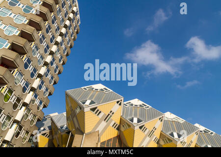 Rotterdam architectural skyline and unique yellow cube houses - Stock Photo