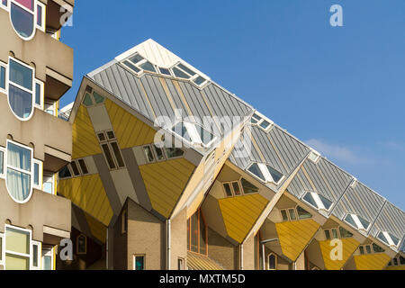 Rotterdam skyline and unique cube houses in a row - Stock Photo
