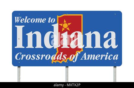 Vector illustration of the Welcome to Indiana blue road sign with the slogan `Crossroads of America` - Stock Photo
