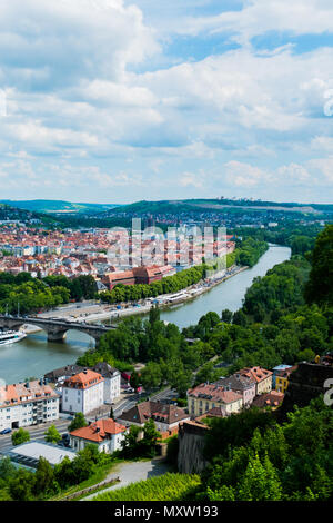 View on Würzburg and Main from Festung Marienberg, Würzburg, Germany - Stock Photo