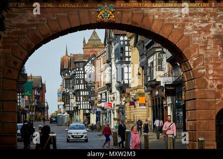 landmark main shopping road Eastgate Street Chester, Cheshire, England, Tudor shops in the historic city centre - Stock Photo