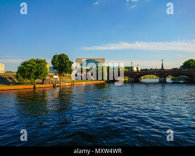 German Chancellery in Berlin on a sunny day - BERLIN / GERMANY - MAY 21, 2018 - Stock Photo