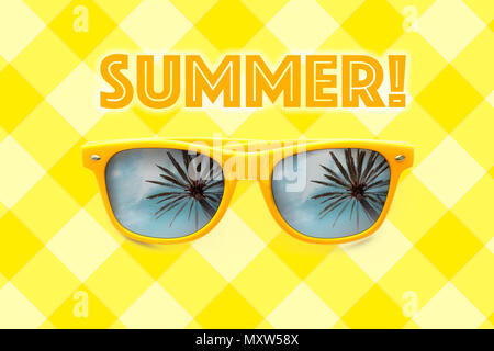Summer text and yellow sunglasses with palm tree reflections isolated in pastel yellow grid background. Minimalist image ready for summer, sun protect - Stock Photo