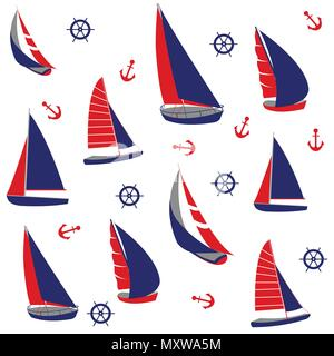 Seamless pattern with nautical elements - Stock Photo