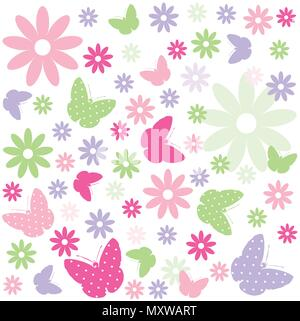 Butterfly, floral pattern - Stock Photo