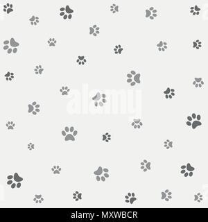 Seamless animal pattern of paw footprint - Stock Photo