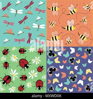 Insects seamless pattern set