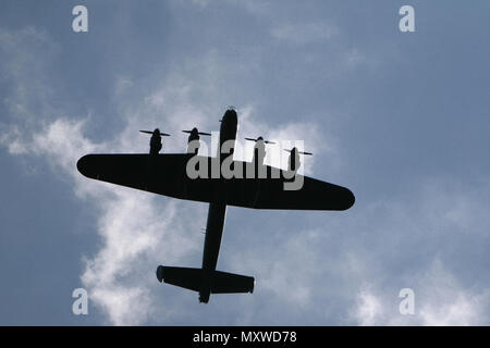 Avro Lancaster British four engine Second World War bomber aircraft Royal Air Force in flight during the Biggin Hill Air Show at the famous wartime airfield in Kent, England. 2008 - Stock Photo