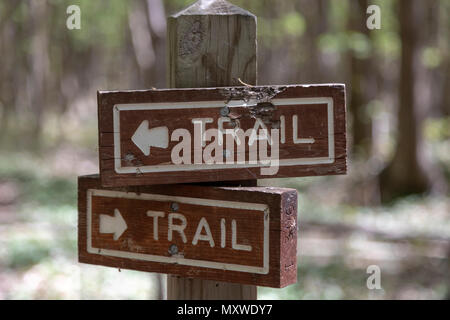 Ontonagon, Michigan - A trail marker in Porcupine Mountains Wilderness State Park. - Stock Photo