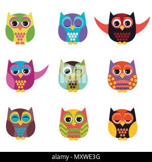 Owls set - Stock Photo