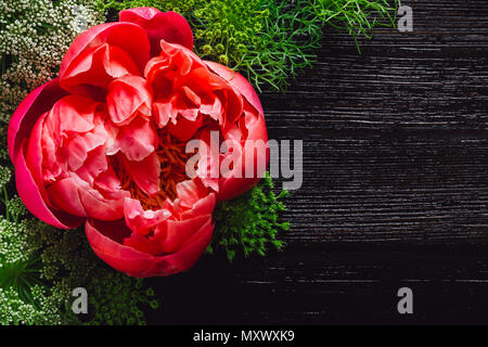 Magenta Peony on Dark Table with Space for Copy - Stock Photo