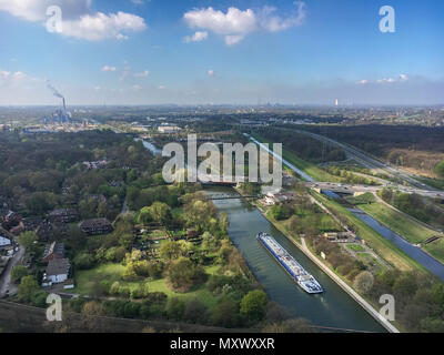 Panoramic view of the Ruhr district (Ruhrgebiet ) in Germany from the top of Gasometer in Oberhausen - Stock Photo