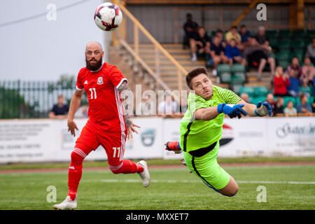Chris Colvin-Owen of South Wales FA v Region of Gothenburg compete in the preliminary round of the UEFA Regions Cup at Jenner Park. - Stock Photo