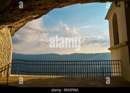 View on mountains from Ostrog monastery in Montenegro - St. Vasilije Ostroski (upper church) - Stock Photo