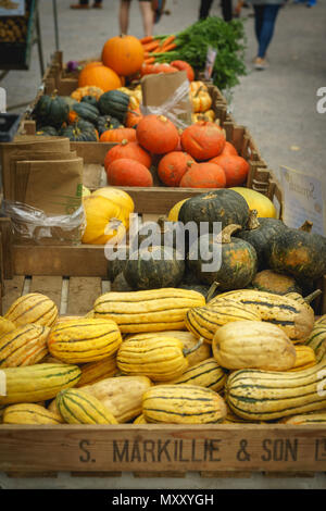London, UK - October 2017. Seasonal vegetables sold in a stall at Brockley Market, local farmer market held every Saturday in Lewisham. - Stock Photo
