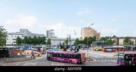 Elevated view of Buchanan Bus Station in central Glasgow, Scotland, Single Decker busses, buses, double deckers. UK - Stock Photo