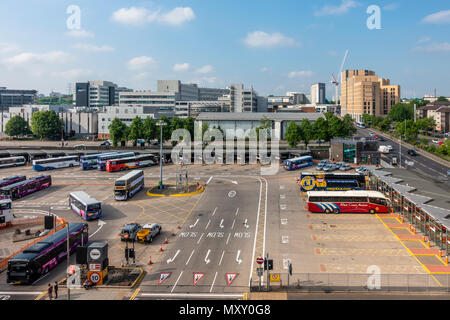 Elevated view of Buchanan Bus Station, in Glasgow city centre, with Caledonian University in the background. This is Glasgow's main bus terminus, - Stock Photo
