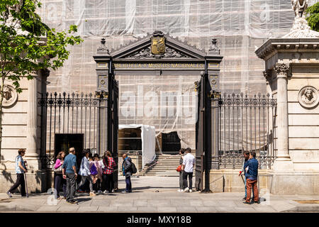 Library and National Museums entrance in Madrid, Spain - Stock Photo
