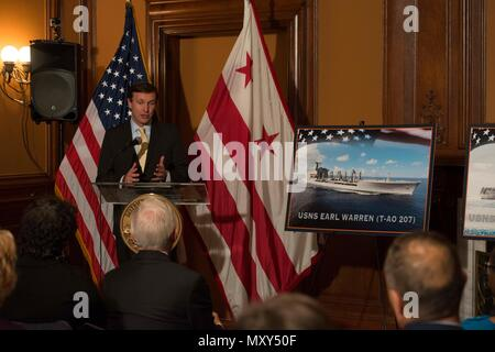161214-N-JC800-058  WASHINGTON (Dec. 14, 2016) Senator Chris Murphy gives a speach during a ship naming ceremony at City Hall in Washington, D.C. The ships that were named were the first of its class ballistic-missile submarine USS Columbia (SSBN 862), the future Spearhead-class expeditionary fast transport ship USNS Puerto Rico (T-EPF 11) and John-Lewis class fleet replenishment oilers USNS Earl Warren (T-AO 207). (U.S. Navy photo by Petty Officer 2nd Class Heath Zeigler/Released) - Stock Photo