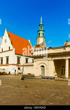 City hall and Old Town Square in Poznan, Poland - Stock Photo