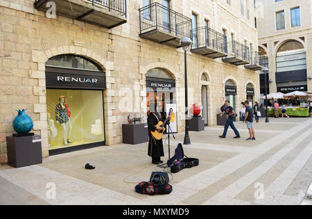 Alrov Mamilla Avenue is a popular open air mall in Jerusalem, Israel. - Stock Photo