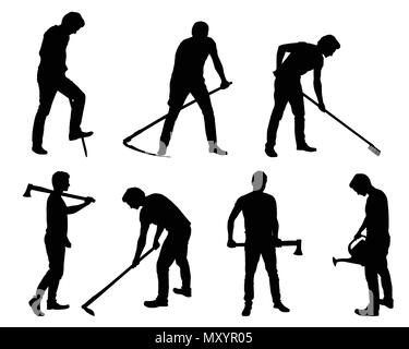 Set silhouette of young man - gardener or farmer with tools in different poses - vector - Stock Photo