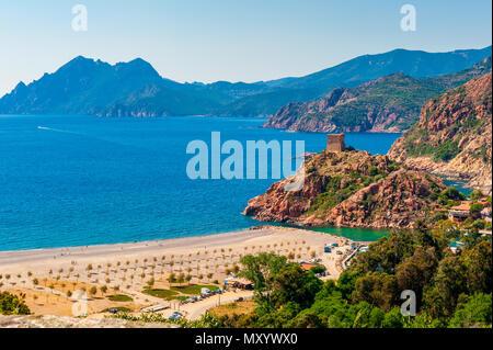 Coastal Village of Porto, Corsica, France - Stock Photo