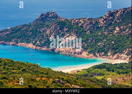 Remote Beach near Sartène in Corsica, France - Stock Photo