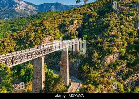 Train crossing Gustave Eiffel's Viaduct in Vecchio, Corsica, France - Stock Photo