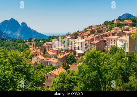 Mountain Village of Evisa, Corsica, France - Stock Photo