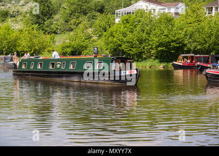Canal narrowboats moored up in the Llangollen marina on the Llangollen canal North Wales - Stock Photo