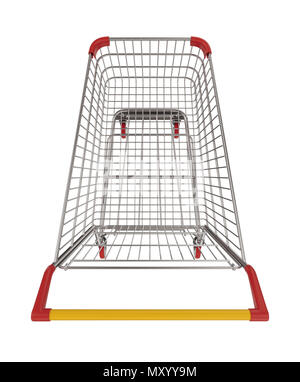 Supermarket shopping cart top view isolated on white background - Stock Photo