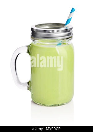 Healthy avocado green smoothie with straw in a jar mug isolated on white - Stock Photo