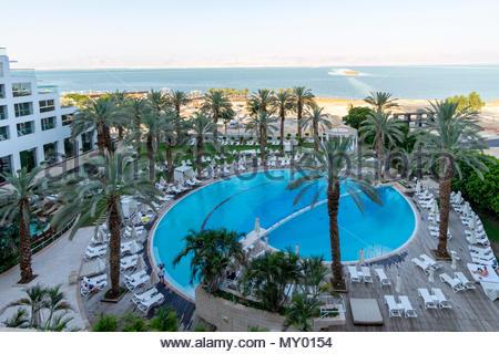 Isrotel Dead Sea Hotel on the shore of the Dead Sea near Ein Bokek, Israel. - Stock Photo