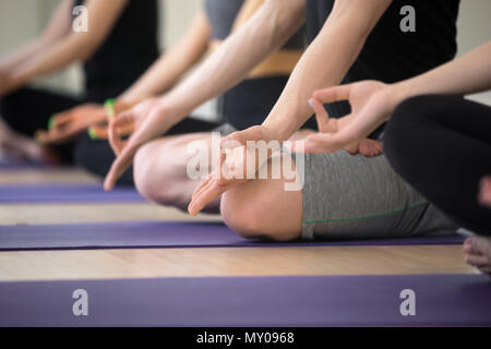 Sporty people practicing yoga lesson, sitting in Sukhasana exercise, Easy Seat pose, working out, indoor close up view, hand with mudra gesture, studi - Stock Photo