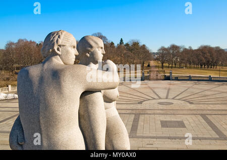 OSLO, NORWAY - APRIL 12, 2010: The Vigeland Park. The sculpture of Gustav Vigeland 'Two young women' - Stock Photo