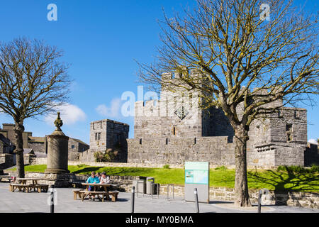 Medieval Castle Rushen in historic old town. Market Square, Castletown, Isle of Man, British Isles - Stock Photo