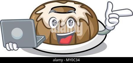 With laptop bundt cake character cartoon - Stock Photo