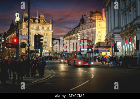 London, UK - November 2017. View of Piccadilly Circus at night. Landscape format. - Stock Photo