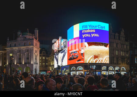 London, UK - November 2017. New iconic electronic ultra-high definition curved billboards have been switch on after an upgrade in Piccadilly Circus. - Stock Photo