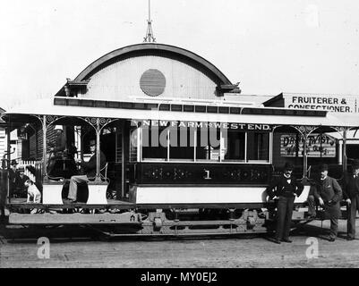 Standard Combination tram No 1, South Brisbane, 1897. Standard Combination tram No. 1 was built in 1897, the prototype electric tram using the body of an earlier horse tram. 63 of this type were built between 1897 and 1904, the last being retired in 1952. They were popularly known as matchboxes. - Stock Photo