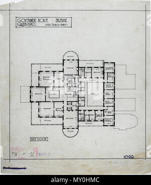 First Floor Plan of Government House, Brisbane, c 1940. Johann Heussler, a wealthy Brisbane merchant purchases 22 acres of land from the Government in 1862 and made plans to build a house there. Local architect Benjamin Backhouse designed a house in 1865, to be constructed from stone excavated on site combined with a cement and lime mixture.  The Heussler family lived at Fernberg from 1865 until 1872 when the high cost of upkeep forces foreclosure on the property by the mortgagee.  Sir Arthur Palmer, Premier of Queensland (1870-1874), and later Lieutenant Governor resided in Fernberg from 1872 - Stock Photo