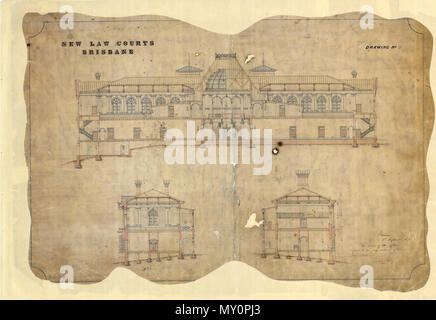 Architectural drawing of the New Law Courts, George Street, Brisbane,. This drawing of the Supreme Court is signed and dated by John Petrie, an architect, stonemason and the first Mayor of Brisbane. - Stock Photo